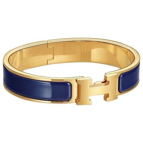 Pre Owned Hermes H Clic Blue Gold Bangle Bracelet Gm 20055