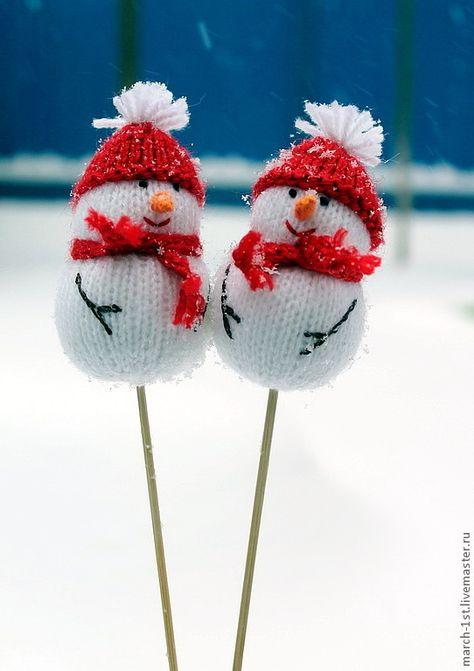 Купить Снеговик на палочке - белый, снеговик, снеговики, снеговичок, подарок на новый год, подарок ребенку