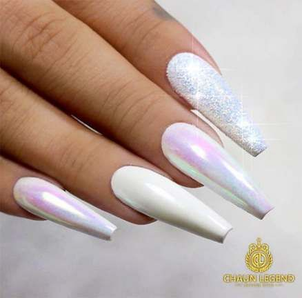 24 Best Ideas Nails Holographic Coffin White Really Long Nails White Chrome Nails White Acrylic Nails