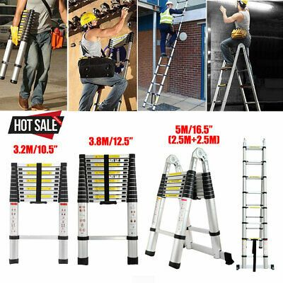 16 5 12 5 10 5ft Aluminum Extendable Ladder Multi Purpose Telescopic Garden New Ebay In 2020 Extendable Ladder Combination Ladders Aluminium Ladder