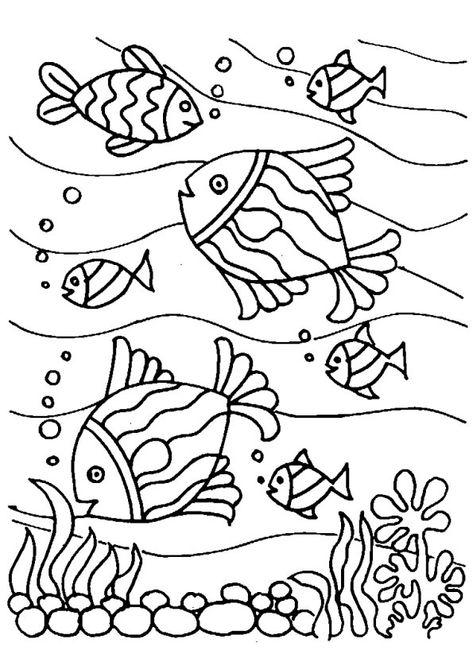 Раскраска рыбки в аквариуме плывут в разные стороны как него