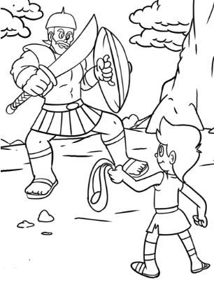 Coloring Page Base David And Goliath Sunday School Coloring Pages