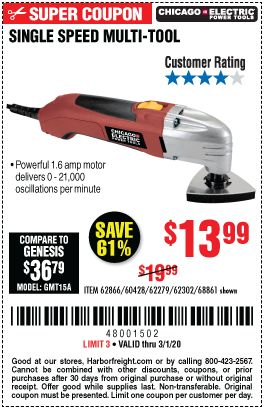 Chicago Electric Oscillating Multi Tool For 13 99 In 2020 Harbor Freight Tools Multitool Tools