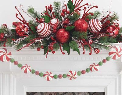 Peppermint Kisses - lots of mantel ideas here