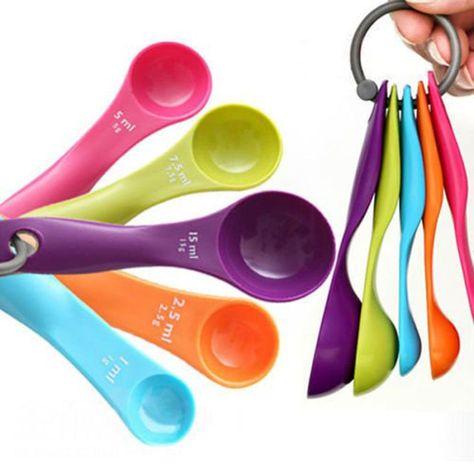5 Pcs Coloré Plastique Cuillères Set Ustensiles de Cuisine Cuisson Baking Tool