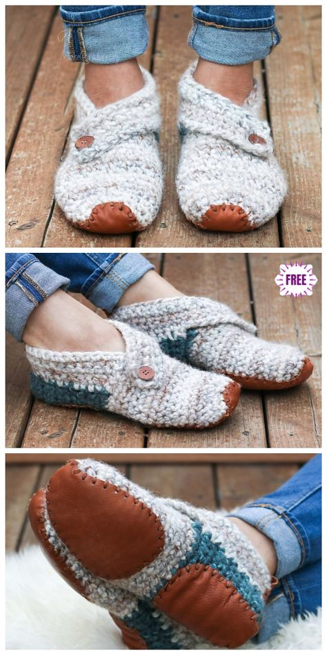 Crochet Lovers Outdoor Slippers Free Crochet Patterns Crochet Lovers Outdoor Slippers Free Crochet Patterns - Sunday Slippers by Jess Coppom Knitting works add time when ladi. Crochet Gifts, Knit Crochet, Freeform Crochet, Crochet Simple, Knitted Slippers, Crochet Slipper Boots, Slipper Socks, Patterned Socks, Crochet Accessories