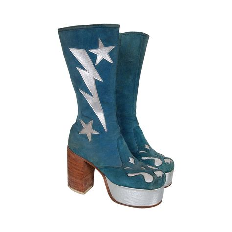 ffe048a6ab3 1970 s Turquoise-Blue Suede and Silver Leather Novelty Glam-Rock Platform  Boots