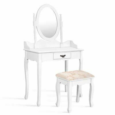 Advertisement Posh Modern Vanity Makeup Dressing Table Stool Set White In 2020 Makeup Dressing Table Dressing Table With Stool Vanity Table Set