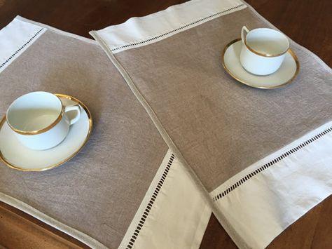 2 sets de table lin coton et jour échelle ancien par AgnescreArt