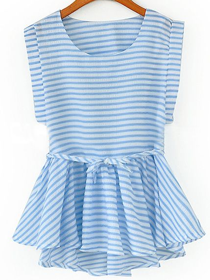 Shop Sleeveless Striped Peplum Hem Top online. SheIn offers Sleeveless Striped Peplum Hem Top & more to fit your fashionable needs.