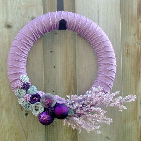 Purple and Silver Wreath | Yarn Wreath - Christmas Holidays - Purple, Silver, Grey, Lilac ...