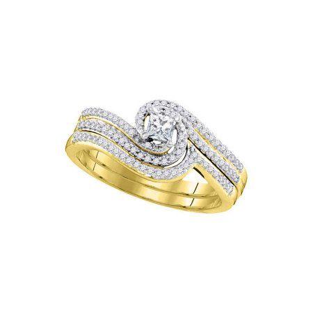 10kt Yellow Gold Womens Princess Diamond Bridal Wedding Engagement Ring Band Set 3 8 Cttw Wedding Rings Engagement Diamond Wedding Bands Band Engagement Ring