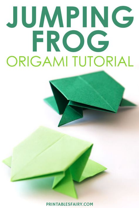 Learn how to fold an easy origami jumping frog. Get the free printable step by step instructions perfect for kids and start playing! Instruções Origami, Cute Origami, Paper Crafts Origami, Origami Bouquet, Origami Flower, Origami Ideas, Oragami, Origami Easy Step By Step, Easy Origami For Kids
