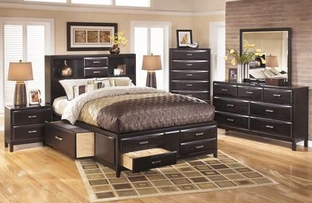 Kira 4 Piece Bedroom Set With King Size Storage Bed Dresser Mirror And Nightsta King Size Storage Bed Queen Size Storage Bed King Size Bedroom Sets
