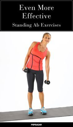 Great for toning the waist and stretching the sides of the body. Stand with your feet hip-width apart holding five- to dumbbells at your sides. Bend sideways to the right squeezing your waist on the right side. Keep your neck as neutral as pos Workout Routine For Men, Abs Workout Video, Abs Workout For Women, Men Exercise, Teen Workout, Tummy Workout, Workout Tips, Workout Plans, Post Workout