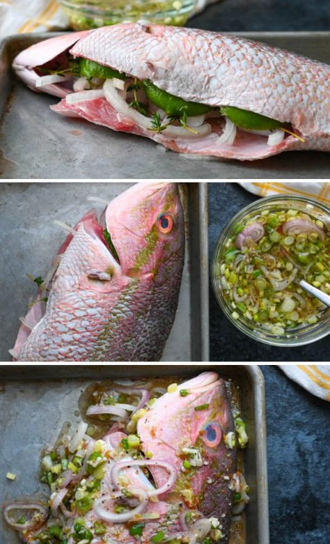 The best Caribbean fish recipes are the simplest. This grilled yellowtail snapper recipe has a spicy West Indies marinade. The easy aioli is garlicky YUM! Whole Red Snapper Recipes, Whole Fish Recipes, Grilled Fish Recipes, Salmon Recipes, Grilling Recipes, Cooking Recipes, Orange Recipes, Cooking Tips, Caribbean Fish Recipe