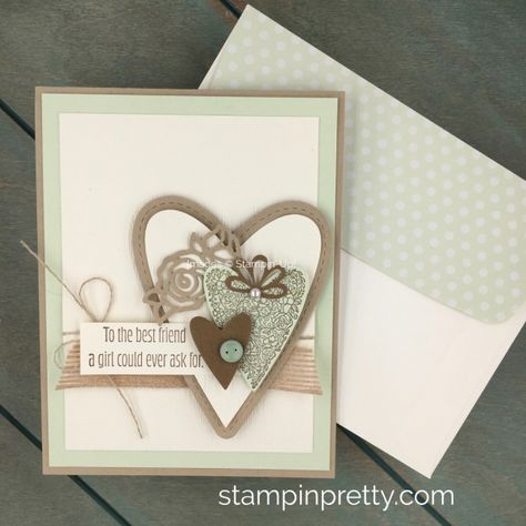Create a valentine using Stampin Up Be Mine Stitched Framelits Dies & Meant to Be Stamp Set - Created by Mary Fish StampinUp