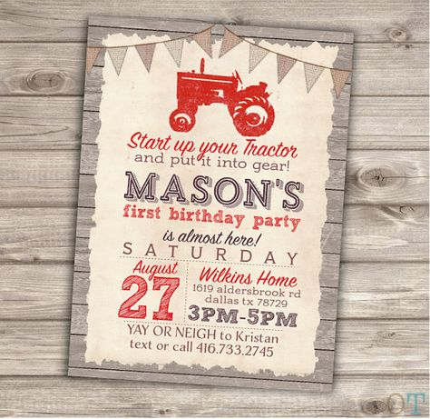 Red Tractor Birthday Printable Invitations Rustic Wood by cardmint