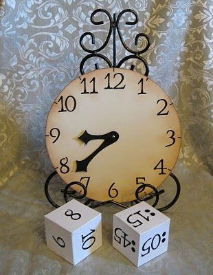 Great activity for kids to practice telling time. The dice have either numbers or 15 minute increments on it. Kids roll the die, and then have to put the right time on the clock. Great center idea