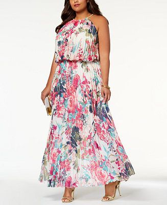 MSK Plus Size Pleated Blouson Halter Gown - Dresses - Women ...