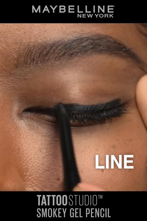 Meet Maybelline's NEW Tattoo Studio Smokey Gel Pencil Liner! This creamy pigmented mechanical gel liner glides on smooth and has a smudging tip that lets you blend out in seconds for a smoldering smokey look. This smudge proof eyeliner doesn't smear—even in the inner line and gives you a matte finish. Available now in 3 shades: 'smokey black', 'smokey grey' and 'smokey brown'.