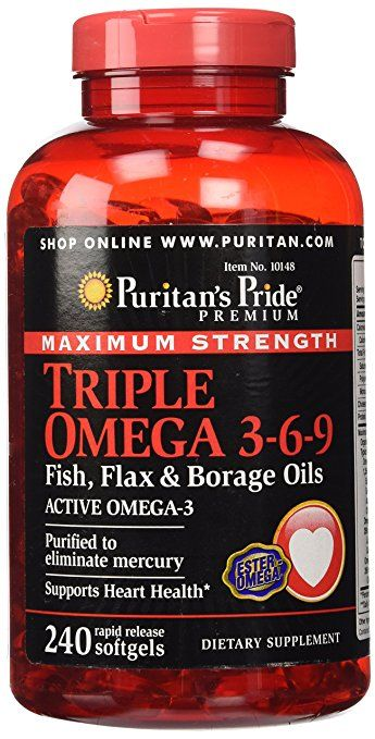 Puritan S Pride Maximum Strength Triple Omega 3 6 9 Fish Flax Borage Oils 240 Softgels Borage Oil Borage Omega 3