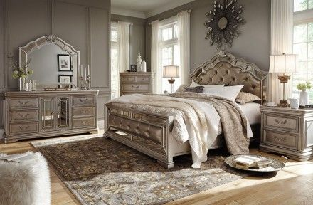 Birlanny Silver Upholstered Panel Bedroom Set Silver Bedroom