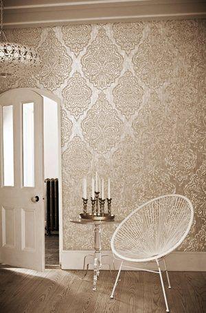 Cream Living Room Wallpaper