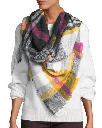 aa112f9b Neiman Marcus Square Plaid Scarf w/ Fringe | clothing | Plaid scarf ...