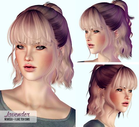 """i-like-teh-sims: """" NEWSEA LAVENDER - ALPHA EDIT Lil presents for you baboos. I passive aggressively hinted at taking requests for little hair edits and Rachel took the bait and suggested this one."""