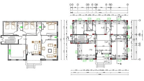 37 X 55 Feet House Furniture Plan Autocad File In 2020 House Furniture Plans Furniture Plans Apartment Floor Plans