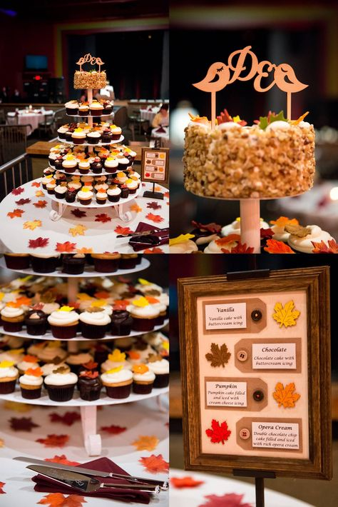 Fall Wedding Cupcake Tower Cupcakes By The Bonbonerie Engraved Serveware By Things Remembered Cake Topper From Etsy And Cupcake Menu Ha Fall Wedding Cupcakes