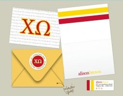 Ultimate sorority girl kit... complete with folded greeting cards, envelopes, note pads, and return address labels --all designed in Chi Omega letters and colors!!! Enjoy!!