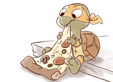 so freakin cute, artist unk/Mikey. omg so cute TMNT Art Mignon, Arte Disney, Teenage Mutant Ninja Turtles, Cute Drawings, Cute Art, Chibi, Cute Animals, Baby Animals, Anime