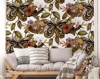 Vanilla Orchid Peel Nad Stick Wallpaper Leaf Print Self Etsy In 2020 Feather Wallpaper Boho Bedroom Decor Hippie Wallpaper