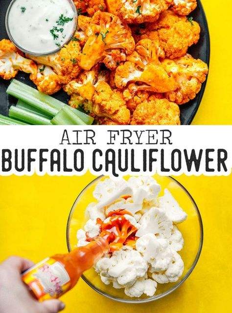 Air Fryer Buffalo Cauliflower recipe is a delicious savory dish. This vegan snack is perfect as an appetizer or side dish and pairs deliciously with your favorite creamy dip! It's full of flavor while being naturally gluten-free vegan and low carb. #airfryer #cauliflower #buffalo #appetizers #fingerfood #liveeatlearn #healthyrecipes #healthy #recipes #cauliflower