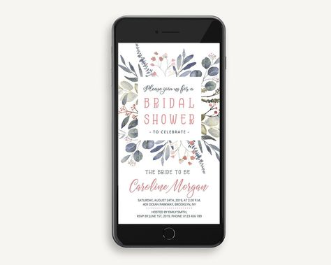 3cf702472ef Blush Electronic Bridal Shower Invitation with dusty pink floral and ...