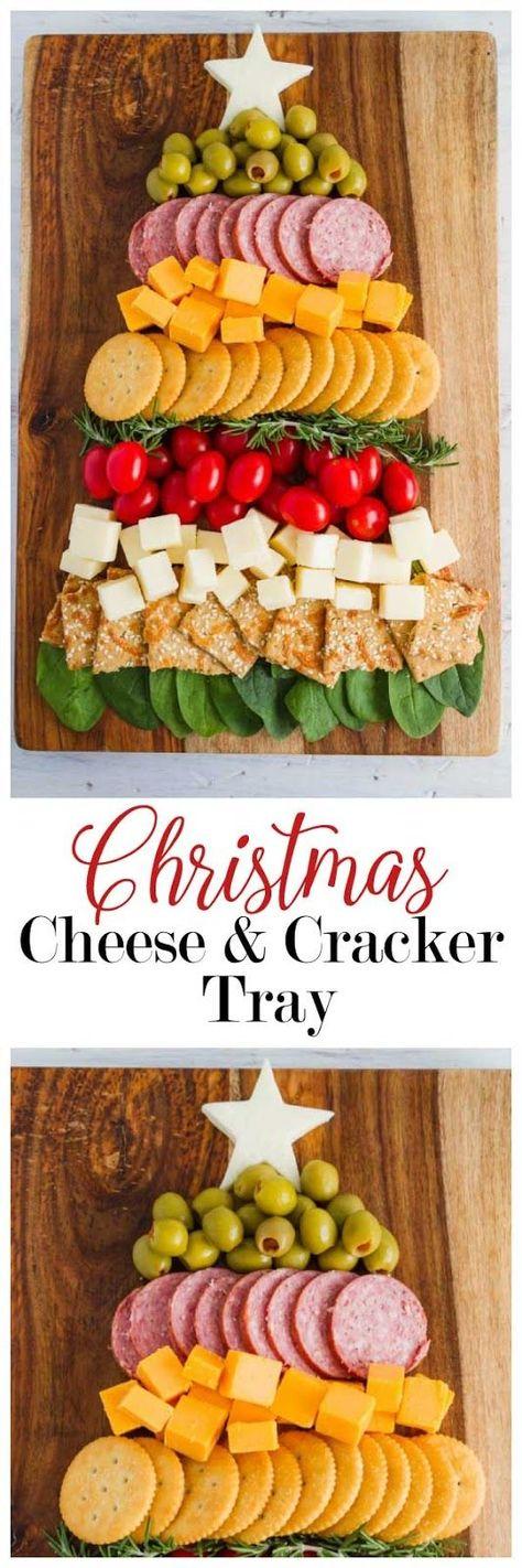 Christmas Tree Cheese and Cracker Tray