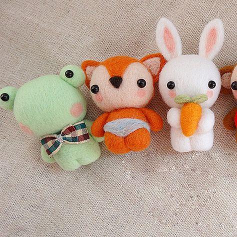 Needle Wool Felted Felting Animals Cute Bunny Fox Craft | Feltify