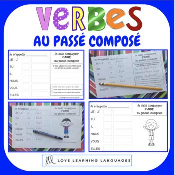 French Passe Compose 60 Verb Conjugation Charts Primary French Immersion Learn French Bilingual Classroom Teaching French