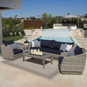Castelli 6 Piece Sofa Set With Sunbrella Cushions Outdoor Sofa Sets Patio Seating Sofa Set