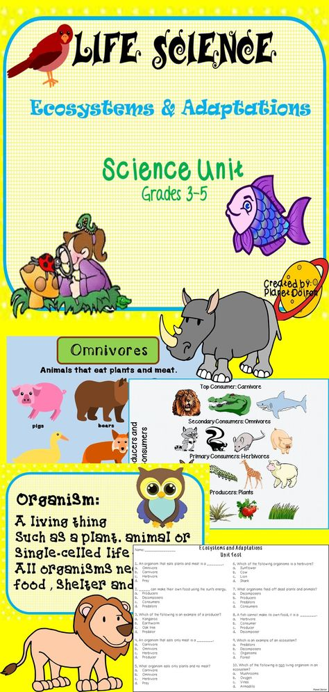 Life Science Ecosystems and Adaptations thematic unit plan   # TPT ...