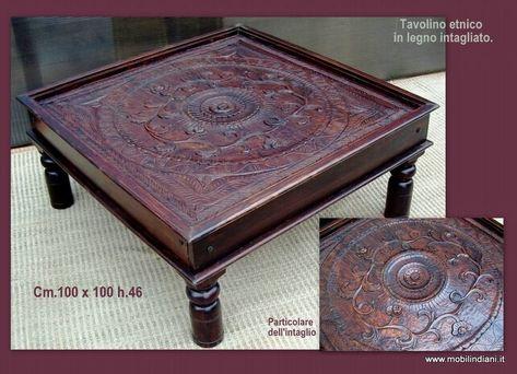 Tavolino In Legno Etnico.Tavolino Etnico Piano Intagliato Tavolino Tavolini Legno