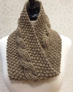 One skein neck warmer with reversible cables  A great