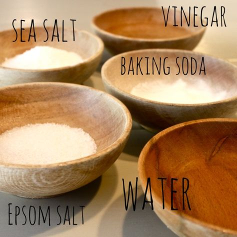 {Homemade} Foot Soak & Detox - ITEMS NEEDED:      1 cup epsom salt     1 cup baking soda     1 cup sea salt     1/4 cup vinegar     1 cup warm water     a few drops of peppermint oil {or oil of choice}