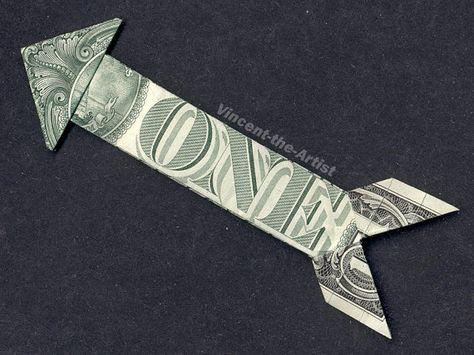 Dollar Bill Money Origami ARROW Art Piece