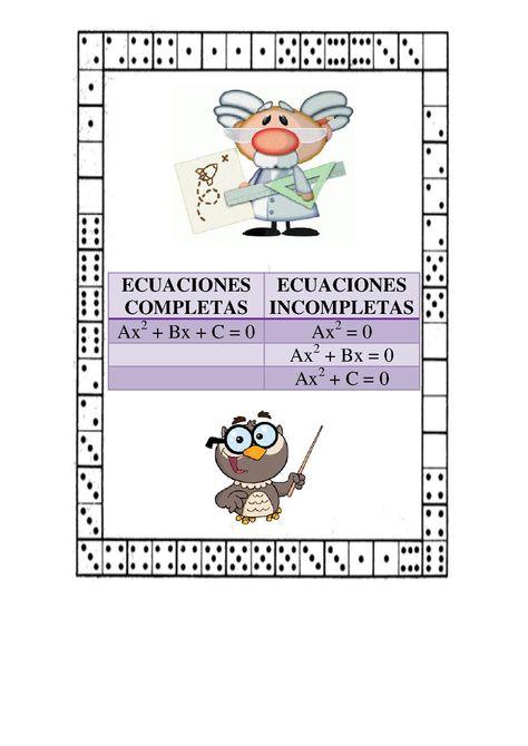 Esquema De Los Posibles Tipos De Ecuaciones De Segundo Grado Esquema Math