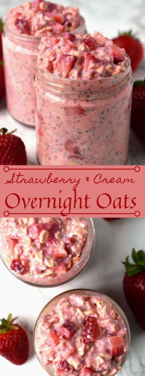 Recipes Snacks On The Go Strawberries and Cream Overnight Oats take just a few minutes to make and are loaded with nutritious ingredients like oats, strawberries, Greek yogurt, chia seeds and milk for a healthy, filling breakfast! Overnight Oats Receita, Yummy Overnight Oats, Chia Seed Overnight Oats, Strawberry Overnight Oats, What Are Overnight Oats, Overnight Oats Protein Powder, Overnight Oats Greek Yogurt, Oats Recipes, Smoothie Recipes