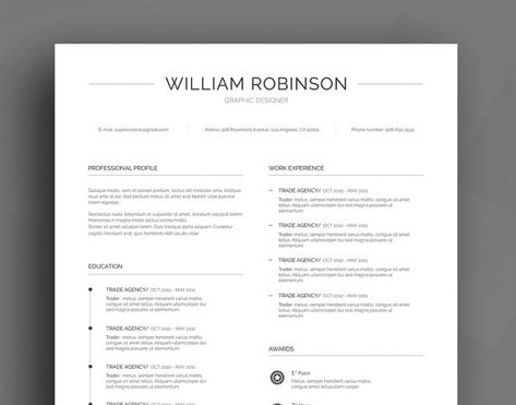 Professional Resume Template \/ CV Template + Cover Letter + - professional reference list