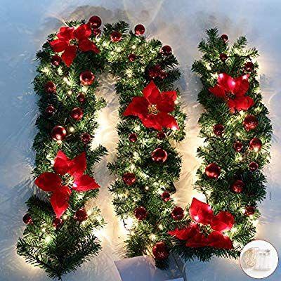 Amazon Com Ova Christmas Illuminate Garland 8 8 Ft Christmas Rattan Christmas Artif Christmas Lights Garland Christmas Garland Outdoor Christmas Decorations